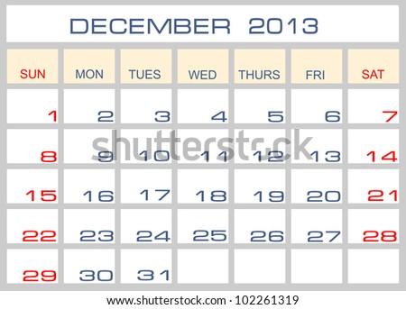Vector calendar December   2013 - stock vector