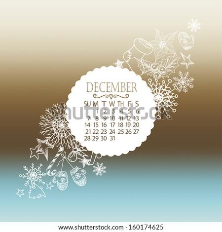 Vector calendar december - stock vector