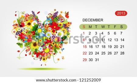 Vector calendar 2013, december. Art heart design - stock vector