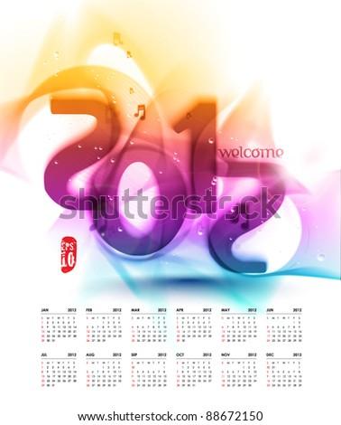 Vector 2012 Calendar Design - stock vector