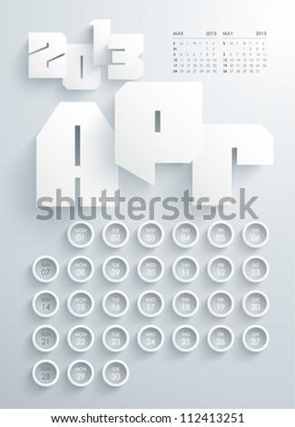 Vector 2013 Calendar Design - April - stock vector
