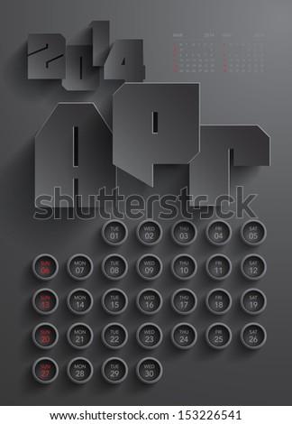 Vector 2014 Calendar Design - April - stock vector