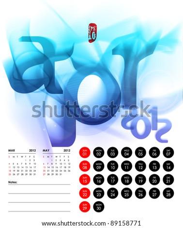 Vector 2012 Calendar Design - April - stock vector