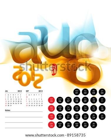 Vector 2012 Calendar Design - August - stock vector