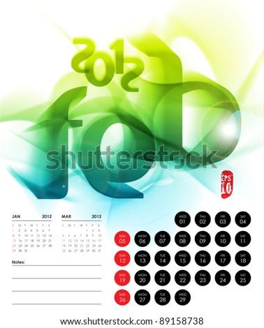 Vector 2012 Calendar Design - February - stock vector