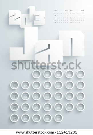 Vector 2013 Calendar Design - January - stock vector