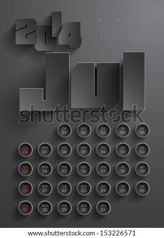 Vector 2014 Calendar Design - July - stock vector