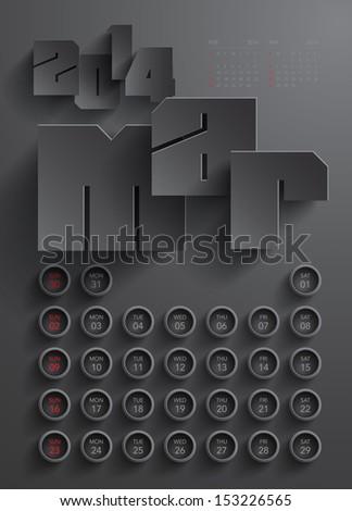 Vector 2014 Calendar Design - March - stock vector