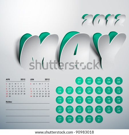 Vector 2012 Calendar Design - May - stock vector