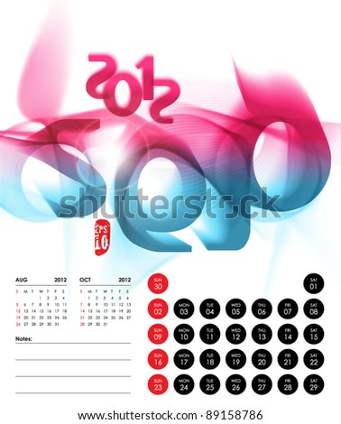 Vector 2012 Calendar Design - September - stock vector