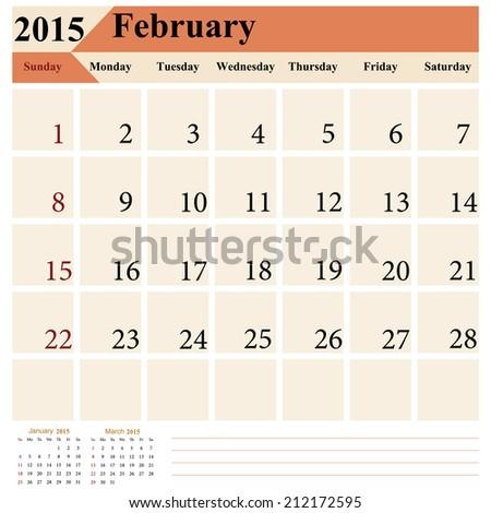 Vector calendar 2015 February - stock vector