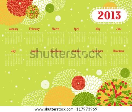 Vector calendar for 2013 - stock vector