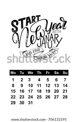 Vector Calendar January 2018 Hand Drawn Stock Vector 706132195 ...