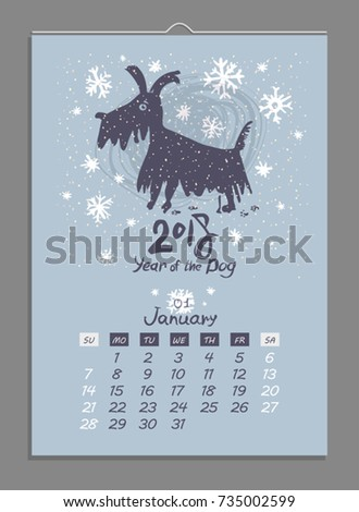 Vector calendar for January 2018. Year of the Dog. Hand drawn illustration and letters for calendar design. The page of a leafy monthly creative calendar.