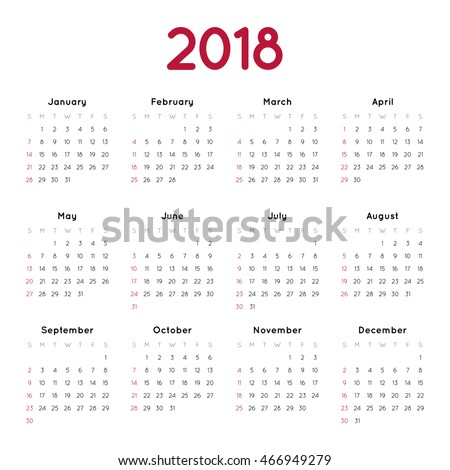Vector calendar for 2018 on white background. Week starts from sunday. Simple design template. Minimalism Style