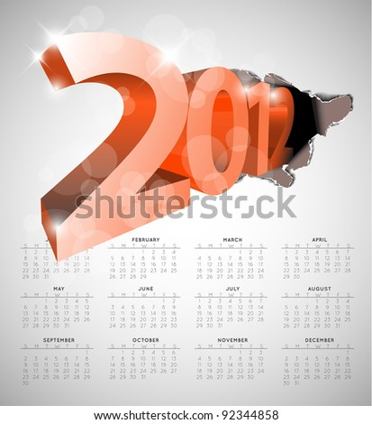 Vector calendar for the new year 2012 - stock vector