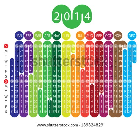 Vector Calendar for 2014 year with graphic elements - stock vector