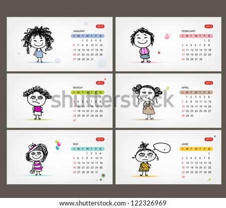 Vector calendar 2013. Funny girls for each month - stock vector