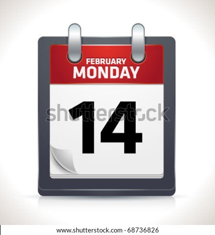 Vector calendar icon on February 14 - stock vector