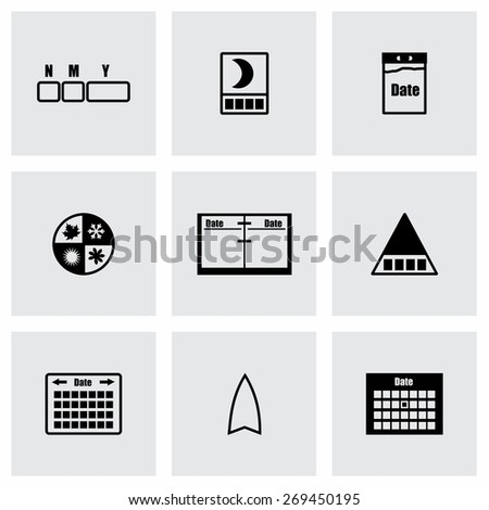 Vector Calendar icon set on grey background