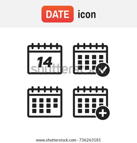 Vector calendar icons. Event add delete progress. Calendar sign