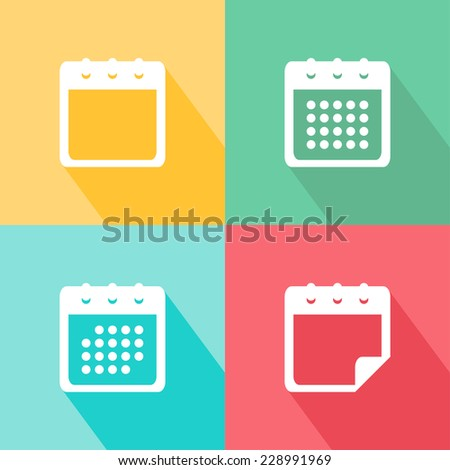 Vector calendar icons set. Flat design with long shadow - stock vector