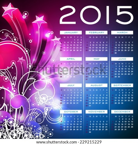 Vector Calendar 2015 illustration on abstract color background. Eps 10 design.