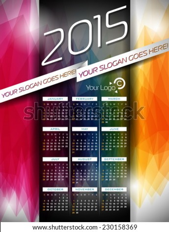 Vector Calendar 2015 illustration on abstract color background. Eps 10 design. - stock vector