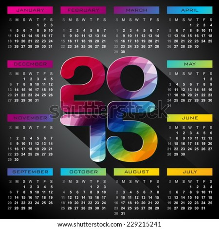 Vector Calendar 2015 illustration with long shadow on dark background. Eps 10 design. - stock vector