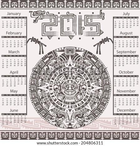 Vector calendar in Aztec style - stock vector