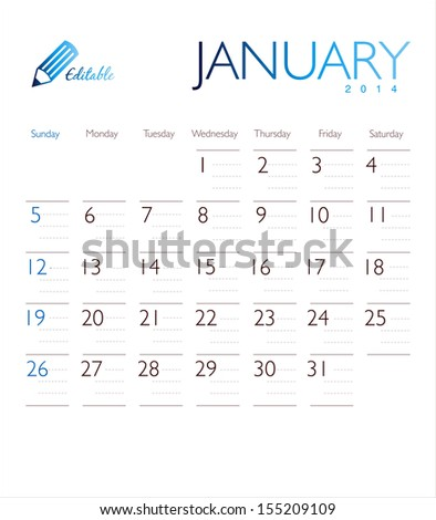 Vector calendar 2014 January - stock vector