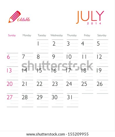 Vector calendar 2014 July - stock vector