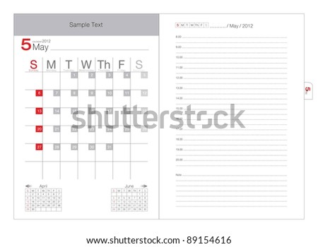 Vector calendar 2012 May - stock vector