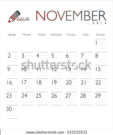 Vector calendar 2014 November - stock vector