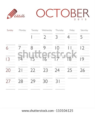 Vector calendar 2013 October - stock vector