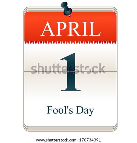 Vector Calendar of Fools day, 1st April - stock vector