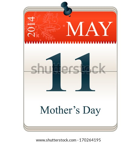 Vector Calendar of Mother's day, 11th May, 2014 - stock vector