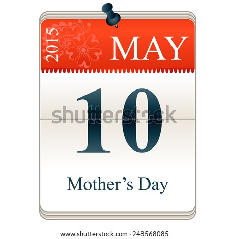 Vector Calendar of Mother's day, 10th May, 2015 - stock vector