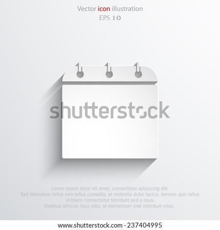 Vector calendar organizer web flat icon. Eps 10 illustration. - stock vector