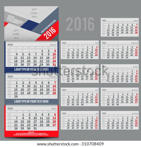 Vector calendar 2016 - Planner for three month includes space for yur photo and text - stock vector