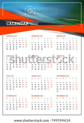 Vector Calendar Poster A 3 Size 2019 Stock Vector 2018 749594614