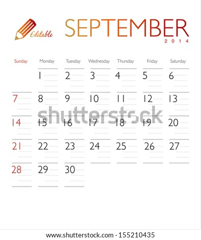 Vector calendar 2014 September - stock vector