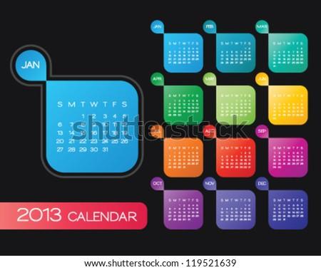 vector calendar 2013. simple colorful calendar design template - stock vector