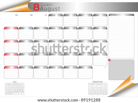 Vector Calendar Table 2012 August - stock vector