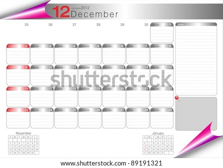 Vector Calendar Table 2012 December - stock vector