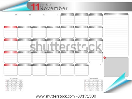 Vector Calendar Table 2012 November - stock vector