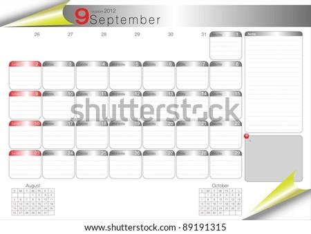 Vector Calendar Table 2012 September - stock vector
