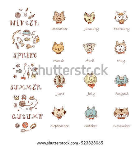 Template Collection Cards Cartoon Animals Stock Vector 773632780