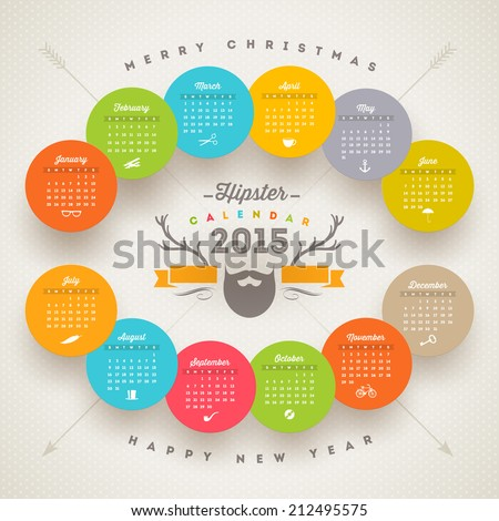 Vector calendar 2015 template with hipster style elements - stock vector