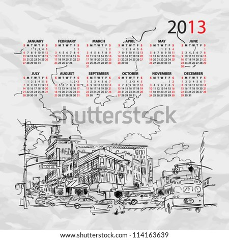 Vector calendar 2013 with cityscape illustration. - stock vector